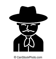 cowboy icon, vector illustration, black sign on isolated background