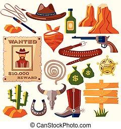 Cowboy icons flat - Wild west cowboy flat icons set with gun...