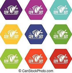 Cowboy icons set 9 vector