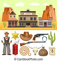 Cowboy icons set and wild west scene with dynamite skull and...