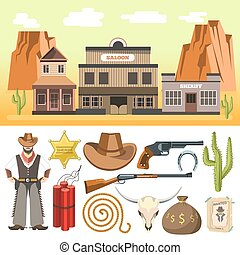 Cowboy icons set and wild west scene with dynamite skull gun...