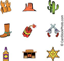Cowboy icons set, cartoon style