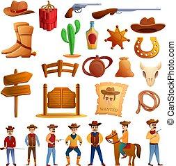 Cowboy icons set, cartoon style