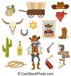 Cowboy Icons Set - Cowboy icons set with dynamite skull and ...