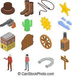 Cowboy icons set, isometric style