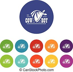 Cowboy icons set vector color