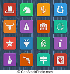 Cowboy icons. Vector wild west pictograms