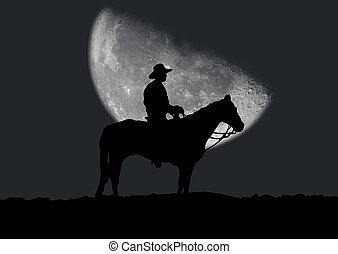 Cowboy - Illustration of a silhouette of the cowboy which ...