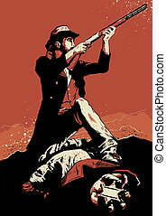 Cowboy in a classic gunfight scene. Vector Format, fully editable.