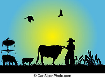 Cowboy in field