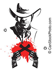 Cowboy in hat with blood guns. Vector graphic poster
