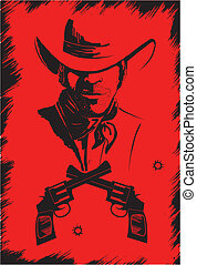 Cowboy in hat with guns. Vector graphic poster on red