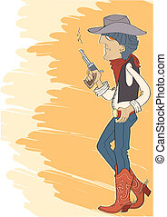 Cowboy in hat with gun.Vector illustration