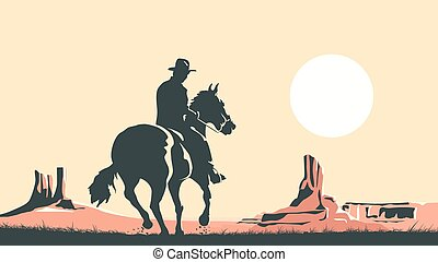 Horizontal cartoon illustration of prairie with hero of the wild West leaves in sunset.