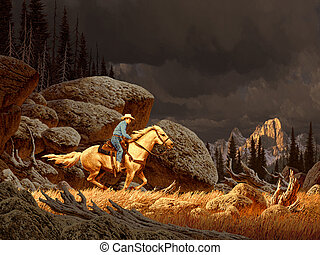 A Rocky Mountain landscape scene with cowboy and storm in distance.