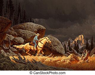 Cowboy In The Rockies - A Rocky Mountain landscape scene...