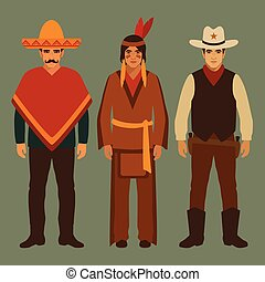 cowboy, indian and mexican, american people, traditional ...