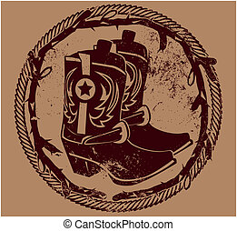 Cowboy Insignia - Western themed seal with boots, rope and...