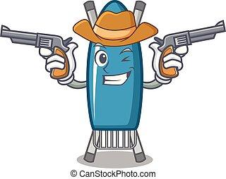 Cowboy iron board character cartoon vector illustration