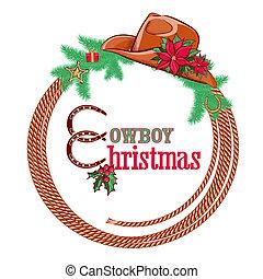 cowboy, isolato, americano, fondo, natale bianco