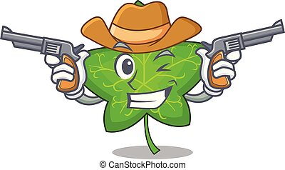 Cowboy ivy leaf isolated on character cartoon