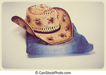 Cowboy jeans and hat - vintage retro style