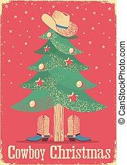 cowboy, julkort, med, träd, och, västra, clothes.