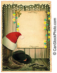 cowboy, kerstmis, achtergrond, met, kerstmuts, en, antieke , papier, voor, tekst, op, oud, kaart