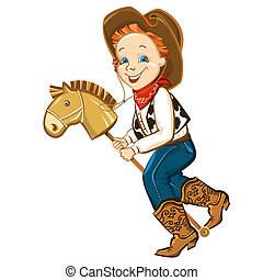 cowboy kid in western clothes and toy horse. Vector happy boy illustration