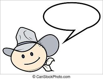 Cowboy Kid Saying - Vector Cartoon