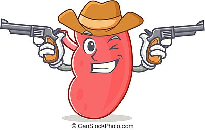 Cowboy kidney character cartoon style