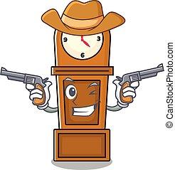 cowboy, klok, karakter, spotprent, grootvader