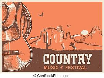 cowboy, land, gitaar, amerikaan, muziek, poster, hoedje