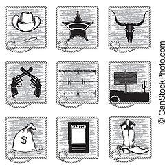 Cowboy life elements .Vector black silhouettes symbols on...