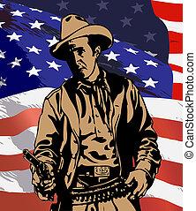 Cowboy - llustration of a cowboy wearing a cowboy hat on the...