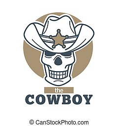 Cowboy logo skull in sheriff hat isolated on white background.