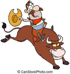 cowboy, lycklig, tjur rida