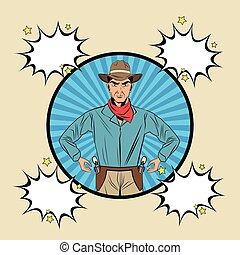 Cowboy man cartoon design