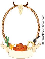 cowboy, manifesto, fondo, per, disegno, con, cowboy,...