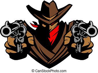 Cowboy Mascot Aiming Guns - Graphic Mascot Image of a Cowboy...