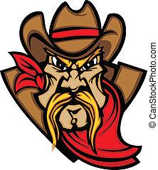 Cowboy Mascot Head Vector Illustrat - Graphic Mascot Vector...