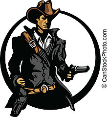 Cowboy Mascot Silhouette Aiming Guns - Graphic Mascot Image...