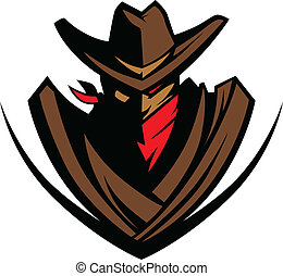 Cowboy Mascot with Hat and Bandanna - Graphic Mascot Image...