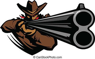 cowboy, mascotte, punteria, fucile caccia, vettore