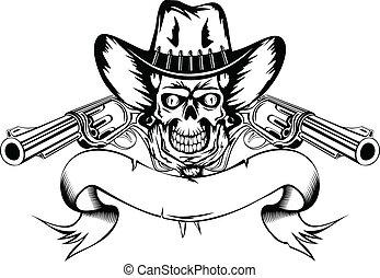 cowboy, med, revolvrar
