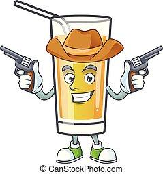 cowboy, mela, dolce, cartone animato, sidro, mascotte