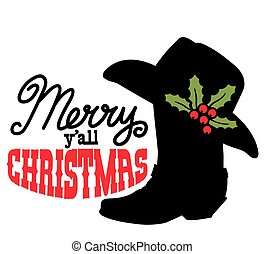 Cowboy Merry Christmas. Vector printable illustration with Cowboy Country boot and Western hat and holiday text isolated on white for design.