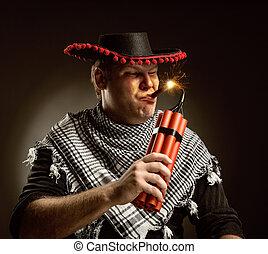 Cowboy mexican firing dynamite by cigar - Serious cowboy...