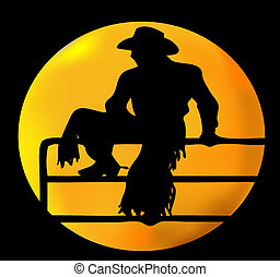 Silhouette of a cowboy sitting on a fence against a brilliant yellow moon