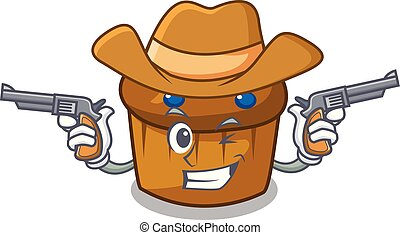 Cowboy mufin blueberry character cartoon